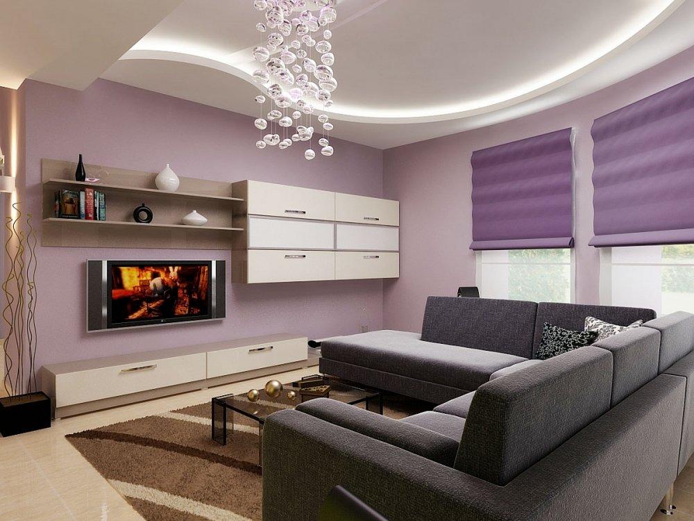 Лиловая гостиная современный дизайн